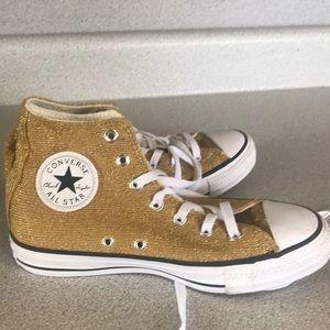 Gold Converse shoes